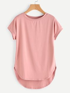 SheIn offers High Low Curved Hem Tshirt & more to fit your fashionable needs.To find out about the High Low Curved Hem Tshirt at SHEIN, part of our latest T-Shirts ready to shop online today!Discover recipes, home ideas, style inspiration and other Trendy Outfits, Cute Outfits, Fashion Outfits, Women's Fashion, Fashion Quotes, Fashion Black, Fashion History, Ladies Fashion, Fashion Ideas