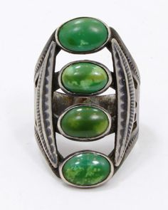 Vintage Old Pawn Fred Harvey Era Navajo Ring Sterling Silver & Green Turquoise