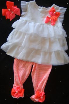 Baby GIRL romper, onesie,  bodysuit outfit -  Ruffled white chiffon neon colors leggings hair bows. $37.50, via Etsy.