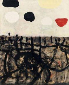 ADOLPH GOTTLIEB CAVE, 1952 Huile sur toile Signée en bas à gauche Contresignée,