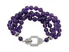 Art Deco Amethyst Bead Bracelet with Diamond Clasp i Art Deco Jewelry, Vintage Jewelry, Jewelry Design, Purple Art, Purple Jewelry, Vintage Diamond Rings, Amethyst Bracelet, Fantasy Jewelry, Jewelry Bracelets
