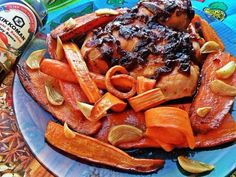 Chicken with onion marmalade, and carrot.