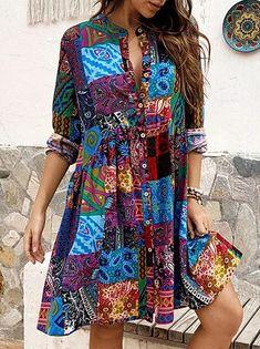 Γυναικεία Φόρεμα ριχτό Φόρεμα μέχρι το γόνατο - Μισό μανίκι Φλοράλ Στάμπα Καλοκαίρι Λαιμόκοψη V Καθημερινό καυτό φορέματα διακοπών Φαρδιά 2020 Θαλασσί M L XL XXL 3XL 2020 - € 16.9 Manga Floral, Half Sleeve Dresses, Knee Length Dresses, Short Mini Dress, Short Dresses, Ladies Dresses, Womens Swing Dress, Cheap Summer Dresses, Ethnic Print