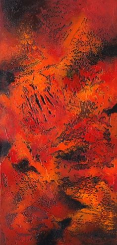 Large abstract, contemporary, modern art painting, Heart and Fire , by California artist Nancy Eckels -- Nancy Eckels