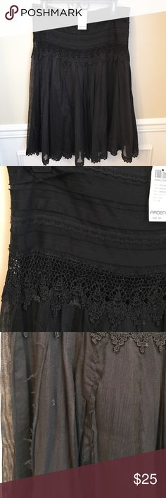 NEW ARDEN B. Black Twirly Layer Skirt Knee New with tags. Knee length. Side zip. The details on this are gorgeous! Third pic lightened to show different textures. Alternating panels of gauzy material, woven cotton, and a burlap-look (but not feel) material. Edged with crochet lace. STUNNING! Fully lined underneath. Fits like ladies 8. Solid black. Arden B Skirts Circle & Skater