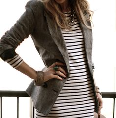 Striped dress with a tweed blazer with a statement necklace for a modern touch // Lucy Laucht