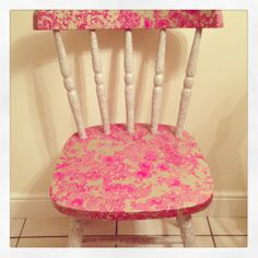 My first decoupage chair using Decopatch