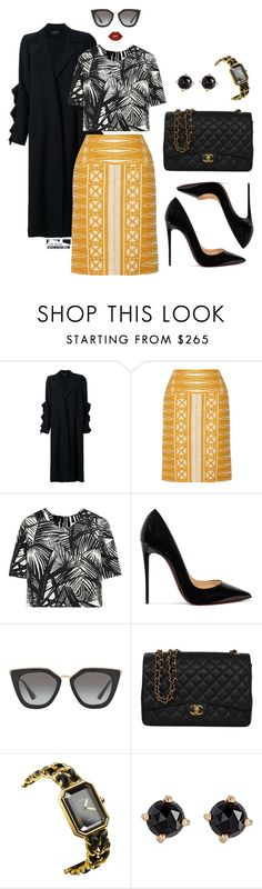 """""""Maize"""" by theglamcorridor ❤ liked on Polyvore featuring Elaidi, Tory Burch, Elizabeth and James, Christian Louboutin, Prada, Chanel, Irene Neuwirth and Lime Crime"""