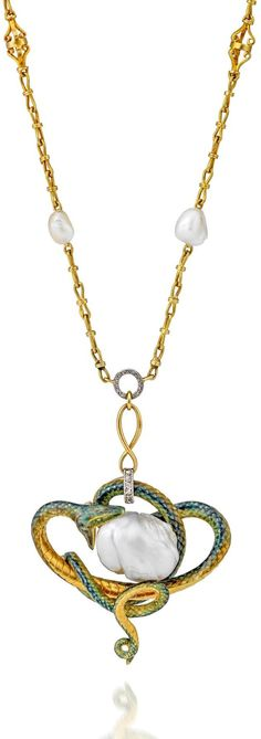 Guillemin Frères - An Art Nouveau pendant gold, enamel and pearl necklace, French. Designed as an entwined snake, the body decorated with blue, green and yellow guilloché enamel, the snake's mouth opened wide positioned to devour a baroque pearl, a figure-of-eight link and a circular millegrain diamond set circular loop supporting a fancy link neck chain interspersed with six smaller baroque pearls, French gold assay marks and makers mark.