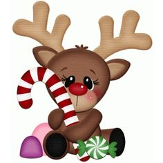 Silhouette Design Store: rudy the reindeer holding candy cane pnc