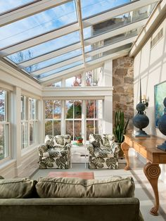 Decorating Small Sunrooms Tips : Vintage Porch Using Small Sunrooms Desig With Glass Roof And Olive Chairs