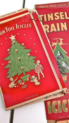 Christmas Tinsel Rain Original Box Lot of 2 Vintage Antique Icicles