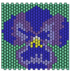 Purple pansy pattern for Bead's 2013 Bead-it-Forward bead-quilt project to raise money for breast cancer awareness.
