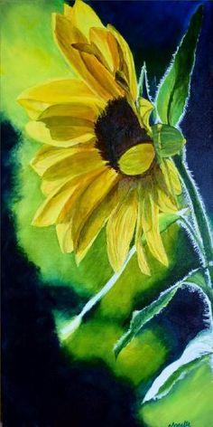 Sunflower Acrylic on canvas Exotic Flowers, Art Club, Landscape Paintings, New Zealand, Watercolor, Portrait, Canvas, Gallery, Artist