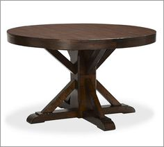 """Benchwright Extending Pedestal Dining Table, 48 x 30"""", Rustic Mahogany stain - want to redo our table to look like this."""