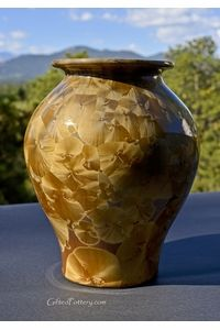 """Handmade Pottery 8"""" Crystalline Vase, Gold Crystals 