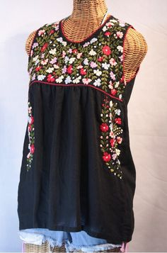 """La Sirena"" Embroidered Mexican Style Peasant Top/Blouse"