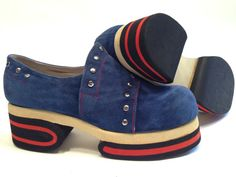 552156228fa 1970 S Platform Shoes   Blue Suede with Metal Studs   Never Worn   Dead  Stock   Mens Size 8-1 2