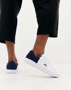Lacoste - Carnaby Evo - Baskets à empiècement bleu marine - Blanc - Baskets, Asos, Sneaker Heels, Bleu Marine, White Sneakers, Slip On, Navy, Sandals, Shopping