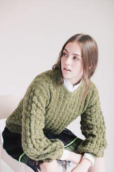 Basket Knit - Olivine by MAUD | VILLOID Basket, Turtle Neck, Knitting, Sweaters, Fashion, Moda, Tricot, Fashion Styles, Breien