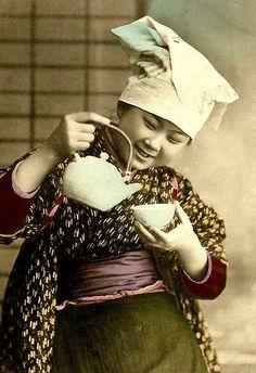 THE SMILING TEAHOUSE GIRL -- A Studio Pose from Old Japan by Okinawa Soba, via Flickr