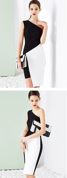 Black and white is the best choice for work outfit or when you need to look professional and elegant. Chic off shoulder knee length dress at $25.99