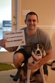 """Kevin and Jaeda, Gainesville, FL  I am a firefighter  I am a """"pit bull"""" dog owner  I am the majority."""