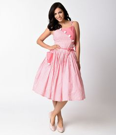 Holy Hamilton! This delectably divine pale peach and white striped day dress is a vintage frock fresh from Unique Vintage in a fabulous colorblocked effect! Bursting with midcentury sensibility, the Hamilton swing dress is cast in a soft, unlined cotton w