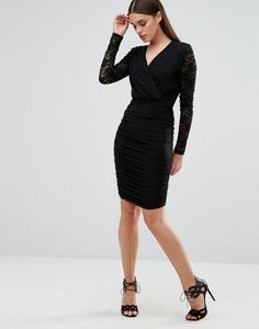 Club L Slinky Wrap Front Dress With Lace Detail