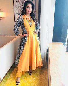 Image may contain: 2 people, people standing Kritika Kamra, Frock Fashion, New Mums, Indian Designer Wear, Pakistani Dresses, Frocks, New Dress, Bollywood, Wrap Dress