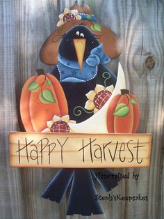 Happy Harvest Crow  Wall Hanging Fall by stephskeepsakes on Etsy, $24.95