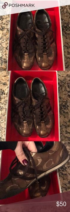 Coach Sneakers Coach fashion, laced sneakers.  Brown and bronze mixed Cs with dark brown suede.  Stored in the original box.  Good condition. Coach Shoes Sneakers