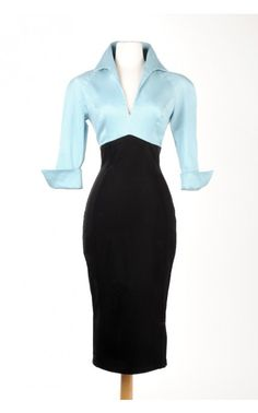 Lauren Color Block Dress in Blue and Black - Dresses - Clothing | Pinup Girl Clothing