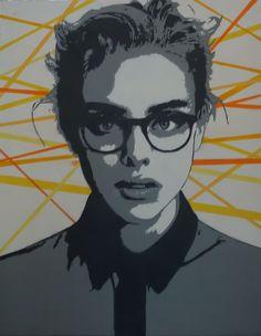 Jeune femme aux lunettes (Peinture), 81x65x2 cm par Olivier CARPENT Pochoir entièrement découpé à la main & peint à la bombe aérosol (3 couleurs) sur toile.