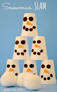 Transform white Styrofoam cups into mini snowmen, place them into a pyramid and toss a makeshift snowball into the heap. See more at Growing a Jeweled Rose » - GoodHousekeeping.com