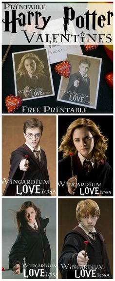 FREE Printable Harry Potter Valentines (Plus Hermione, Ron, and Ginny) - Wingardium LOVEiosa. Plus lots of other Harry Potter Ideas at the bottom of the post.