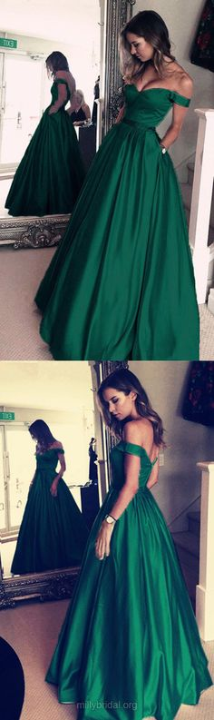 Green Prom Dresses, Long Prom Dresses, Ball Gown Prom Dresses Off-the-shoulder, 2018 Prom Dresses Satin with Beading