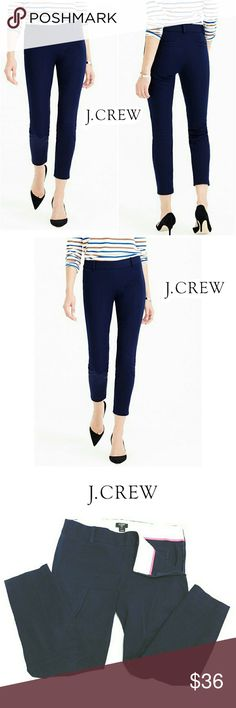 """J. CREW DARK BLUE SLIM  CITY FIT CROP PANTS J. CREW DARK BLUE SLIM CITY FIT CROP PANTS Pre-Loved  / EUC/ RN# 77388 SZ 4 95% Cotton  5% Spandex  Lots of Stretch Hidden Invisible Side Zipper Closure, Wide Belt Loops, Back Slip Pockets  These are Either Very Dark Blue or Black...hard to Tell Approx Meas;    Waist   15""""    Inseam   24 1/2""""    Rise   8"""" Pls See All Pics. Ask ? If Not Sure J. Crew Pants Ankle & Cropped"""