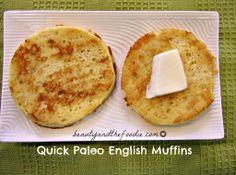 Quick Paleo English Muffins / (paleo & Gaps friendly) grain free nut free with low carb and dairy free options. Most popular recipe on site. Primal Recipes, Low Carb Recipes, Whole Food Recipes, Cooking Recipes, English Muffins, English Muffin Nutrition, Grain Free Bread, Coconut Flour Recipes, Breakfast