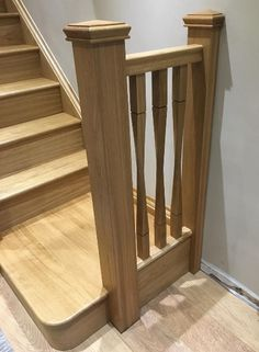 This project is now starting to take shape. Oak staircase with contemporary Oak Raymond Twist Spindles and square posts with pyramid newel caps Wooden Staircase Railing, Wood Balusters, Loft Staircase, Stair Spindles, Staircase Storage, Staircase Makeover, Wooden Stairs, House Stairs, Staircase Design