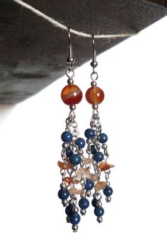 MUCHA  Orange agate natural quartz and lapis by ArtPassionBijoux