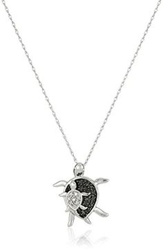 10k White Gold Black and White Diamond Mother and Baby Turtle Pendant Necklace (.08 cttw), 18″ #deals