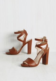 Wrapped Around Your Linger Heel. These beautiful, faux leather heels are so versatile, you'll be able to mold them into any look you can imagine! #brown #modcloth