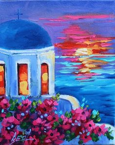 Romantic Santorini at Sunset Original Oil Painting on Canvas This painting is fresh off the easel. Title: Romance in Greece Size: 8 x 10 x1 1/2 NO FRAMING NEEDED. Painted on a cradled canvas with