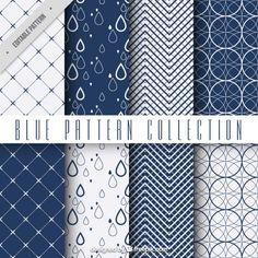 Geometric blue patterns  Free Vector