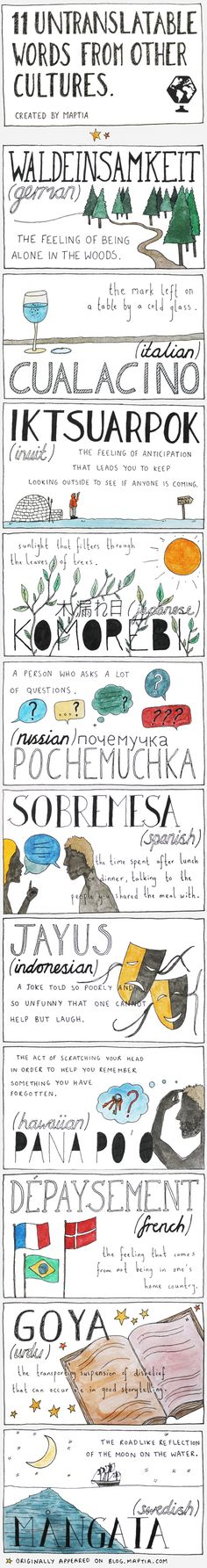 11 Untranslatable Words From Other Cultures | Visual.ly http://visual.ly/11-untranslatable-words-other-cultures?sthash.1Sk4mmyN.tupo
