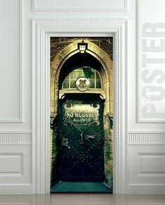 Door STICKER harry potter hogwarts no muggles mural decole film poster from Pulaton on Etsy. Harry Potter Poster, Harry Potter Decor, Harry Potter Hogwarts, Fridge Stickers, Door Stickers, Wall Sticker, Wall Decals, Harry Potter Bathroom, No Muggles