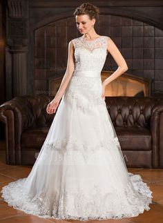 A-Line/Princess Scoop Neck Chapel Train Tulle Lace Wedding Dress With Beading Sequins Bow(s) (002056527)