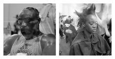 Diptyque photos au format 29x29 mat - Cadre 52x72 - Photo Gauche : Taylor Mabika dans le vestiaire avant de combattre contre Prince George Akron pour conquérir la ceinture de champion d'Afrique lourd léger ABU le 27.12.2013 au Gymnase du Prytanée Militaire de Libreville Gabon - Photo Droite : Clarisse Hieraix Défilé Printemps – été 2014 « Eclosion » du 21.01.2014 à l'espace Pierre Cardin. Photo de Samuel Bailhache - Edition 1/7 - Prix : 700€