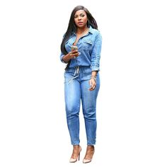 dd62a73a8f21 Plus Size S 3XL Fashion Jeans Women Sexy Slim Women Pants Blue Feminino  Spring Lady Denim Jumpsuit Long Sleeved Trousers-in Jeans from Women s  Clothing ...